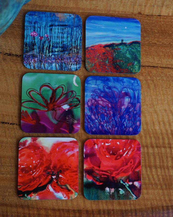 Art Drink Coaster Sets Heart Collection Karin Luciano