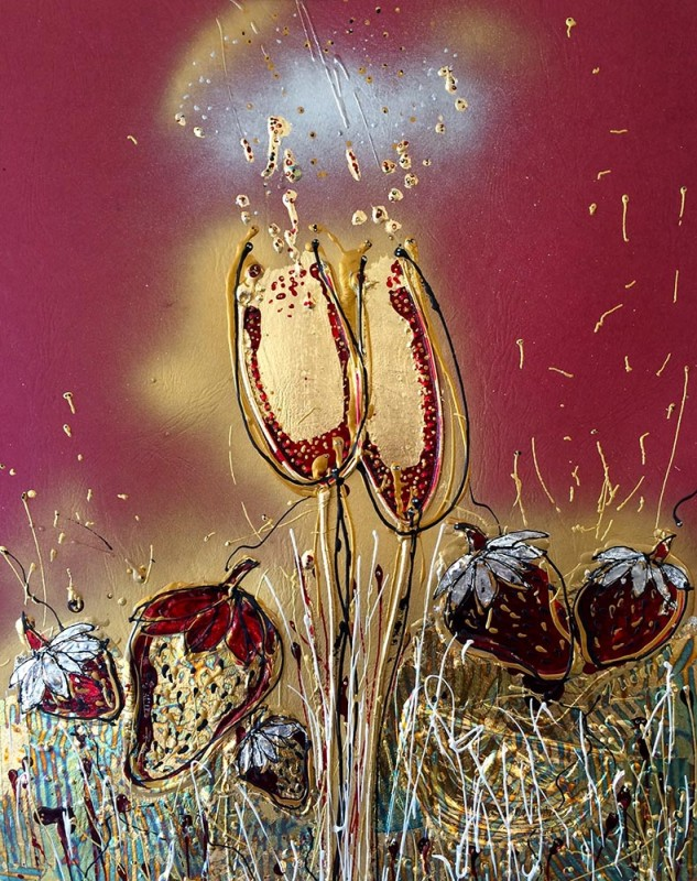 Strawberries Fields Forever mixed media/gold & silver leaf on leatherpaper framed in a platinum with museum glass 61 x 71 cm framed $1,500