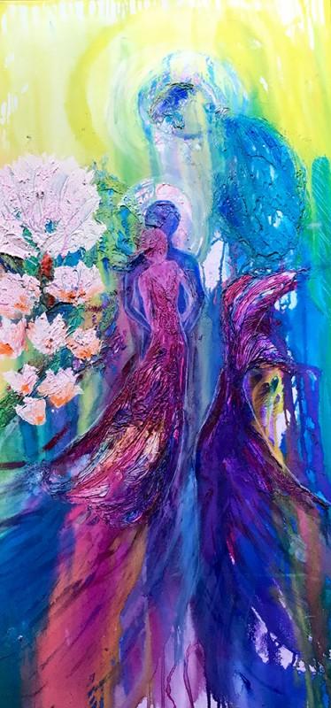 Angel Flight mixed media/ink, acrylic on canvas. 61 cm x 122 cm x 64cm $2,000